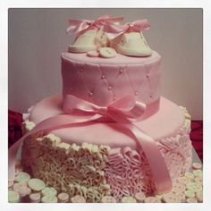 Vintage ruffle and button baby girl shower cake by Jen Kwasniak