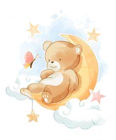 Baby Animal Drawings, Cartoon Drawings, Cute Drawings, Baby Animals, Cute Animals, Baby Illustration, Tatty Teddy, Cute Teddy Bears, Baby Scrapbook