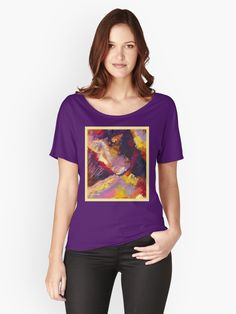 """""""Conscious"""" by Courtney Hatcher. Relaxed fit t-shirt. Expressive abstract art, palette knife painting, contemporary portrait art, emotional art, colorful abstraction. Purple t-shirt featuring expressive original art. Red, purple, yellow, orange. Women's fashion, women's apparel, casual outfit, colorful t-shirt, women's clothing. Functional art, wearable art. ©Courtney Hatcher All Rights Reserved Monster Hunter World, Purple T Shirts, T Shirts For Women, Clothes For Women, Portrait Art, Figure Painting, Wearable Art, Tshirt Colors, Female Models"""