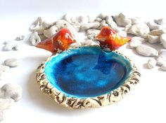 Wedding cake topper Ceramic brown and turquoise  by orlydesign