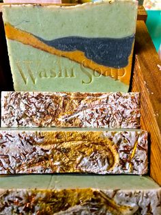 Jaded Dragon Handcrafted Soap Jade with Orange and Smoky Black layers...washisoap.etsy.com