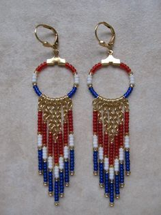 Seed Bead Chain Hoop Earrrings  Red/White/Blue by pattimacs. I would love to be wearing these today for Flag Day, next month for July 4th, etc! This Etsy shop is full of amazing bead woven earrings & other jewelry creations. This is one of those shops that i had a VERY hard time picking one item to feature. =) Visit here soon & you'll see why. =)