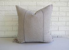 Ticking Throw Pillow Cover Black Stripe by habitationBoheme