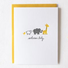 Celebrate a new bundle of joy with this adorable letterpress baby card. Original illustration by Kim Burks of Paper Lovely, this card is hand printed on a Golding Pearl letterpress. 1 folded card and