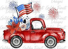 Red Truck Patriotic of July Sublimation Design 4th Of July Wallpaper, Fourth Of July, 4th Of July Images, Patriotic Pictures, Truck Art, Flower Market, Chalk Art, Wooden Signs, Memorial Day