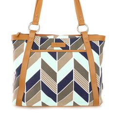 Women's Laptop Bag in Navy and Mint Herringbone by kailochic