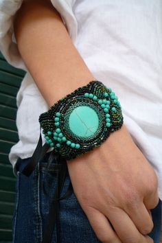 Embroidered Turquoise bracelet handmade by Littlewomenbusiness, €50.00