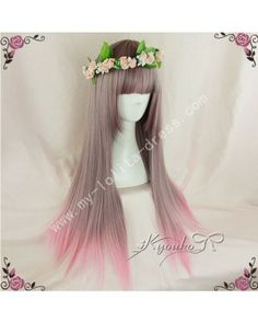 Light Brown Pink Straight Lolita Wig 70cm long #lolita  #wig