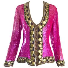 758638495cd 1990s Liza Carr For Lillie Rubin Hot Pink And Gold Sequin Beaded Silk Jacket