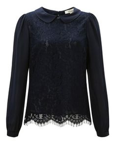 Somerset by Alice Temperley Lace Bodice Blouse, Midnight, John Lewis