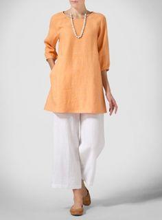 soft orange Linen Elbow Sleeve Tunic