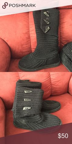 Bearpaw knit boots Worn only a small handful of times. I haven't worn with for awhile due to the fact that they are just too big on me, so that's why I'm selling. I'd be willing to negotiate a lower offer. I want gone asap BearPaw Shoes Winter & Rain Boots