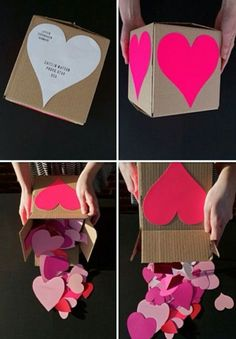 "Send a ""heart attack"" by filling a box with small hearts and in each write a reason why you love the person you're sending this to."