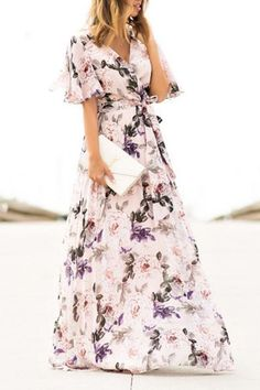 Sexy Short Sleeves Floral Print Vacation floral maxi dress maxi dress formal maxi dress summer maxi dress casual maxi dress for wedding guest boho maxi dress floral maxi dress Maxi Dress With Sleeves, Floral Maxi Dress, Bridesmaid Dresses Floral Print, Mode Kimono, Short Beach Dresses, Maxi Robes, Designer Dresses, Casual Dresses, Dresses Dresses