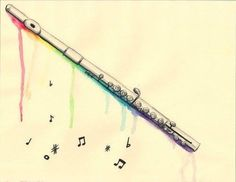 I got bored, and I had water color pencils.and a flute. Flute Drawing, Flute Tattoo, Flute Sheet Music, Music Sheets, Music Drawings, Band Nerd, Clarinet, Music Notes, Art Music