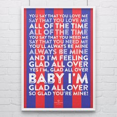 Crystal Palace 'Glad All Over' Football Song Print by True Colours, the perfect gift for Explore more unique gifts in our curated marketplace. Crystal Palace Football, Crystal Palace Fc, True Colors, Colours, Club Design, Classic Songs, Blue Dream, Craft Fairs, Football Posters