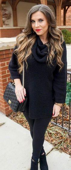 #winter #fashion / Black Quilted Leather Shoulder Bag / Black Knit / Black Leggings / Black Booties