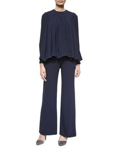 90ece76e0a9333 Pleated Crepe Swing Top & Straight-Leg Front-Press Pants by Co at Neiman  Marcus. blue