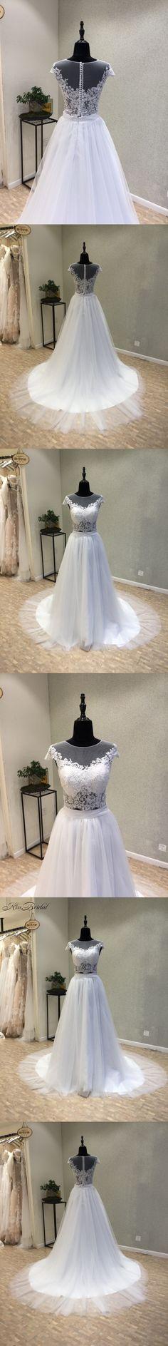 New Style Long Wedding Dress 2018 O-Neck Cap Sleeve A-Line Court Train. A  JournalLong Wedding DressesBridal ... ad2d9aa5407a