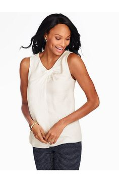 Textured Silk Knotted V-Neck Shell - Talbots
