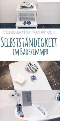 """Die sogenannte """"vorbereitete Umgebung"""" ist ein wesentlicher Bestandteil der Montessori-Methode: sie soll Kleinkindern schon früh größtmögliche Eigenständigkeit ermöglichen. Wie sieht ein Montessori-gerechtes Badezimmer aus? Wie kann ein Kleinkind selbst früh seine Körperpflege übernehmen? Wie setzt man """"Hilf mir es selbst zu tun"""" im Badezimmer am besten um? Um diese Fragen geht es im Text."""