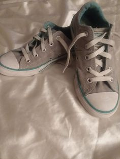 ac4c1a974883 Converse All Star Girls Sneakers Tennis Shoes Size 13.5 Youth Gray Teal  Blue EUC  fashion  clothing  shoes  accessories  kidsclothingshoesaccs   girlsshoes ...