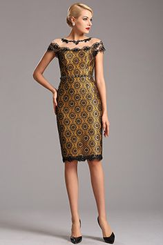 Yellow Vintage Cap Sleeves Printed Lace Cocktail Party Dress (03160524)