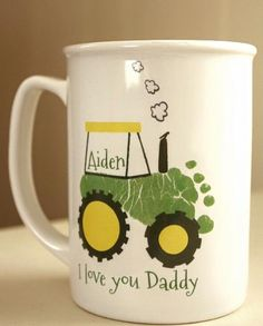 Mothers Day Crafts For Kids Discover Your childs footprints! Perfect Grandpa and Daddy christmas gift baby footprint art baby first christmas Tractor Footprint Mug Baby Christmas Crafts, Baby's First Christmas Gifts, Babies First Christmas, Baby Crafts, Toddler Crafts, Christmas Ideas, Christmas Gifts To Grandparents, Christmas Presents For Grandparents, Kid Crafts
