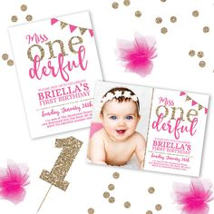 This Miss Onederful Birthday Invitation is perfect for your adorable little girl to set the stage for her first birthday party! This Listing is for PRINTABLE digital files, no physical items will be shipped. You can print at home, a local print shop or upload to an online printer