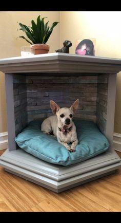 Custom Pet Bed End Table – Dog kennel indoor Animal Room, Niche Chat, Bed End, End Table Dog Bed, Diy Bett, Diy Dog Bed, Pet Beds Diy, Doggie Beds, Puppy Beds