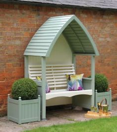 This a beautiful hand crafted garden Arbour, which is the perfect garden feature has both a stylish and traditional look. Available at Garden Mall Garden Arbour Seat, Arbor Bench, Garden Seating, Outdoor Seating, Garden Arbours, Painted Garden Sheds, Painted Garden Furniture, Garden Mall, Wooden Arbor