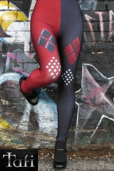 TAFI Harley Arkham Knight Batman CosPlay Printed Leggings  NEW! Now in Dark red style by request.  DESIGN : By-request, Ive added a version of Harley Quinn from Suicide Squad Costume leggings, based on the design in the 2015 Batman Arkham Knight video game.  Just a note about the color; in the above photos, its a bright summer day, so these leggings may appear a shade darker under indoor lighting (especially when you see them un-stretched). Worn, they will look black on one-side, a rich-red…