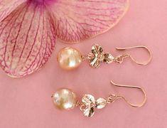 Kasumi pearls with Rose Vermeil earrings