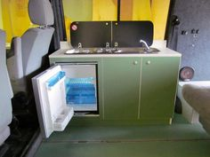 VW T4 Kitchen Pod in Moss Green with Cream edging fitted with Smev 9222 hob…