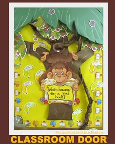 Monkey theme Classroom door decoration, zoo bulletin board from COLOSSAL RoundUP of door decorations at RainbowsWithinReach