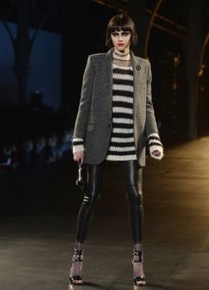 Leather trousers + breton stripe knit + tweed jacket = super easy to recreate