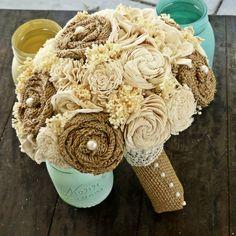 Image of Burlap Collection- Bridal Bouquet, Eco Friendly Bridal Bouquet, Natural Keepsake