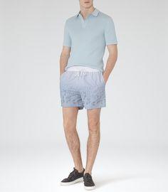 Mens Blue Fade Swim Shorts - Reiss Flamingo