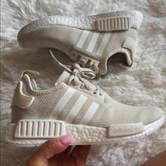 NWT Adidas NMD R1 Talc Beige Tan white boost Women I use size 8.5 in women's and these run big on me. I need size 8.  If you are size 9 in women's these might fit. Or Size 7 in kids Adidas Shoes Sneakers