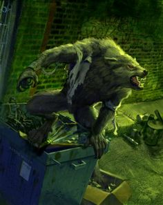 Werewolf (so interesting they decided use a green backdrop for this; such an oft unused hue in werewolf art--especially in urban settings--but it truly lends to some eerie qualities)