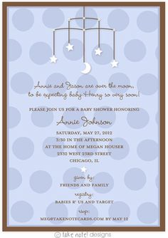 Stars and Moon Mobile Blue Baby Shower Invitation