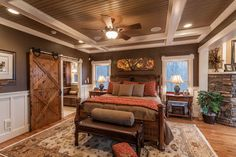 Bedroom Design Ideas, Pictures, Remodels and Decor, great touches of rustic in a contemporary home