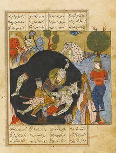 کشتن رستم دیو سپید را، شاهنامه فردوسی، قزوین یا مشهد، 988 هجری قمری، نقاشی: 17 در18.4 سانتیمتر، برگ: 32.8 در23.3 سانتیمتر به دل گفت رستم گر امروز جان بماند به من زندهام جاودان AN ILLUSTRATED AND ILLUMINATED LEAF FROM A MANUSCRIPT OF FIRDAUSI'S SHAHNAMEH: RUSTAM KILLING THE WHITE DIV, PERSIA, SAFAVID, QAZVIN OR MASHHAD, 988 AH/1580 AD gouache heightened with gold on polished paper, 6 lines of text in black nasta'liq script in 4 columns, reverse with 23 lines of text with a larger heading in…