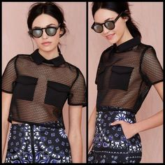 """NWT Nasty Gal black mesh sexy top Hot hot hot! This top is so sexy yet discreet at the same time. Zippers up the back. 16"""" across the bust when laid flat. Also selling plaid skirt in my closet too! ❤️ Nasty Gal Tops Blouses"""