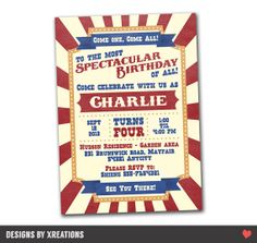 Circus Carnival Invitation  Customizable  by PinkPaperTrail, $15.00