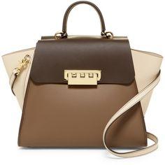 ZAC Zac Posen Eartha Iconic Leather Top Handle Bag (13.530 RUB) ❤ liked on Polyvore featuring bags, handbags, urchin, strap bag, zac zac posen bag, zac zac posen handbags, kiss-lock handbags and brown purse