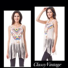 Fun Aztec print fringe top Round neck - sleeveless tribal print loose fit tank top featuring fringe hem. Be festival ready and pair this with distressed jeans and shorts. 96% Rayon &4 % Spandex. Beautiful tribal print. This is size Med -  Bust 36/38 Made in USA PRONTO Tops