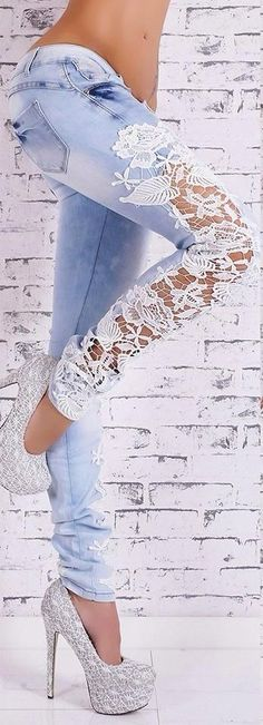 lace denim jeans, SUPER CUTE