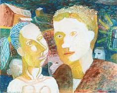 Seppo Mattinen: Man and woman, 1964, watercolours/gouache on paper, visible size 37x46 cm - Bruun Rasmussen 5/2016 1619/640