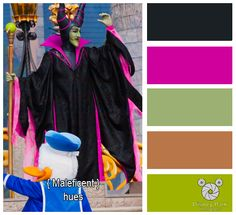 Here are the colors hues of Maleficent in Dream Along with Mickey at The Magic Kingdom in Walt Disney World.